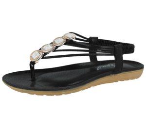 Shoes by Emma Women's Metallic Faux Leather Toe Post Sandals - Black