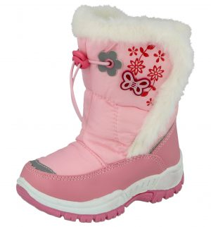 Chatterbox Girls Pink Butterfly Touch & Close Thermal Winter Boots