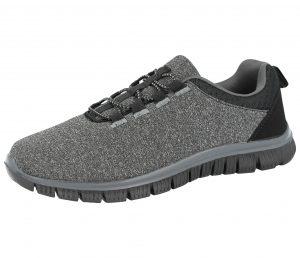 Cushion Walk Women's Canvas Elastic Lace Slip On Trainers - Dark Grey Black