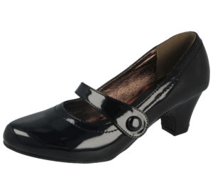 Krush Women's Faux Leather Touch & Close Mary Jane Shoes - Black Patent