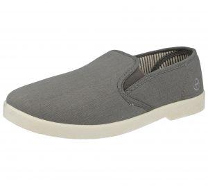 Dr Keller Men's Wide Fitting Canvas Slip On Loafers - Grey