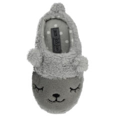 Jo & Joe Mini Girls Animal Novelty Slippers - Grey