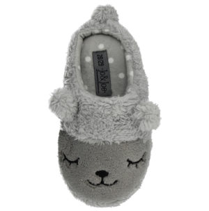 Jo & Joe Mini Girls Animal Novelty Slippers - Grey