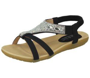 jo and joe womens faux leather diamante sandal black
