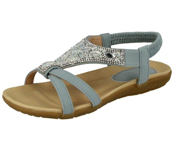 jo and joe womens faux leather diamante sandal light blue