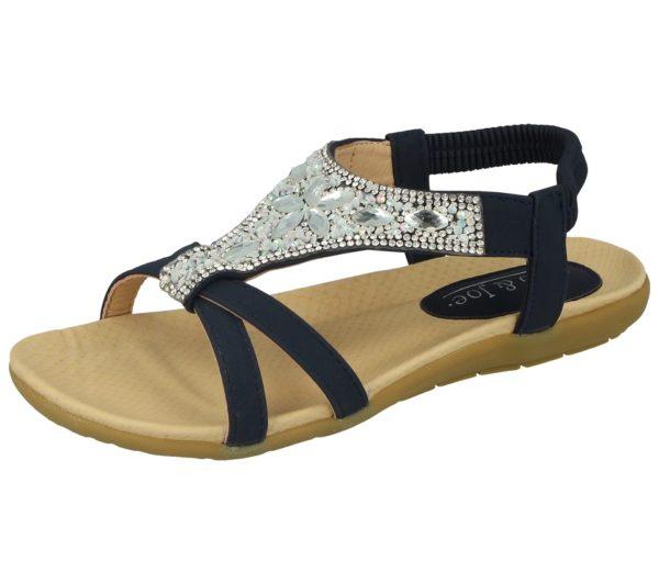 jo and joe womens faux leather diamante sandal navy