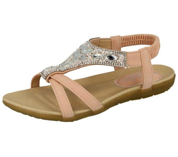 jo and joe womens faux leather diamante sandal pink