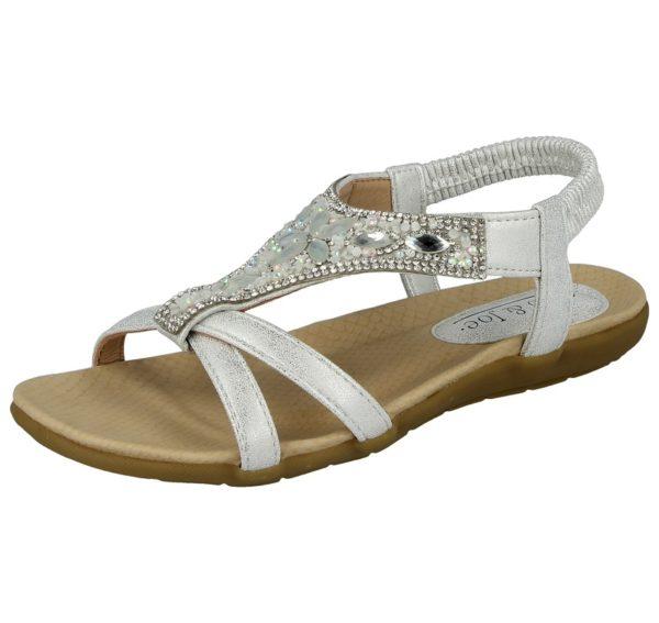 jo and joe womens faux leather diamante sandal silver
