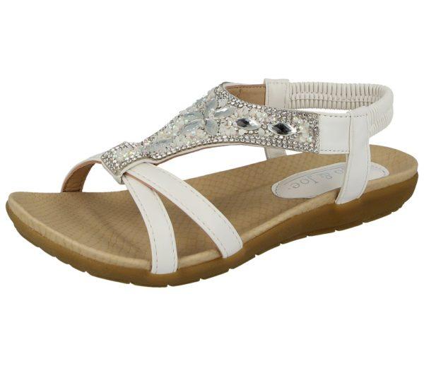 white jo and joe womens faux leather diamante sandal