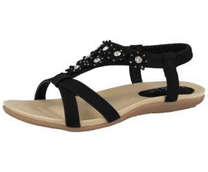 jo joe womens faux leather flower sandal black