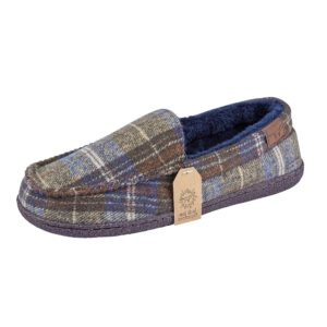 jo and joe mens checked moccasin slipper
