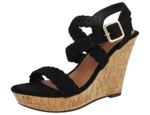 krush womens faux suede plait espadrille wedged sandal black