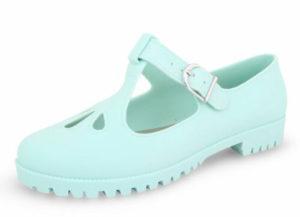 Footwear Sensation Women's Jelly T-Bar Mary Jane Shoes - Apple Green