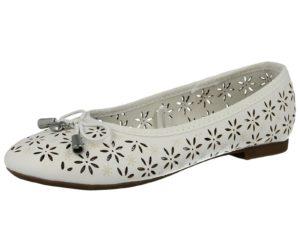 Foster Footwear Girls Faux Leather Laser Cut Ballet Shoes