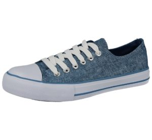 no sense womens blue glitter canvas low top trainer
