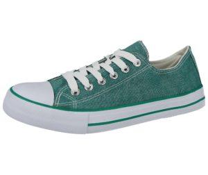 no sense womens denim low top lace up trainer green