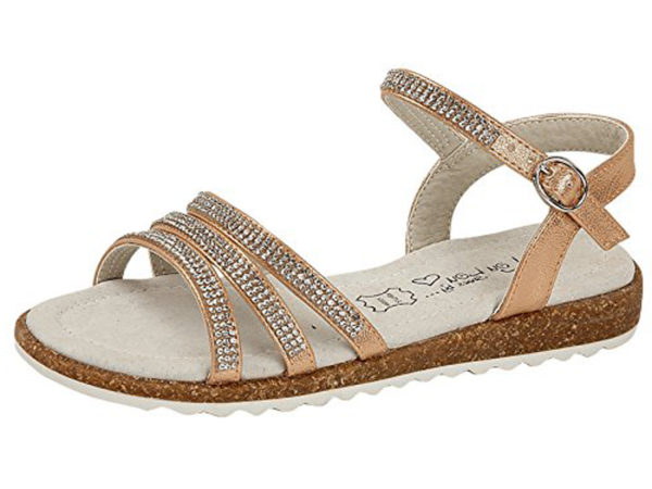 Shoes by Lou Lou Girls Faux Leather Metallic Diamante Strappy Sandals - Gold