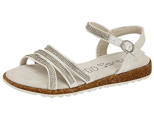 Shoes by Lou Lou Girls Faux Leather Metallic Diamante Strappy Sandals - Silver
