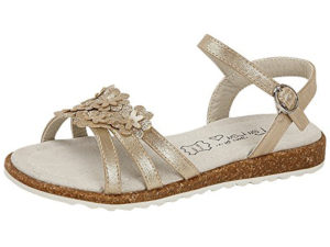 Shoes by Lou Lou Girls Faux Leather Metallic Flower Strappy Sandals - Gold