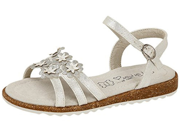 Shoes by Lou Lou Girls Faux Leather Metallic Flower Strappy Sandals - Silver