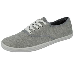 spirit mens breathable canvas low top lace up trainer grey