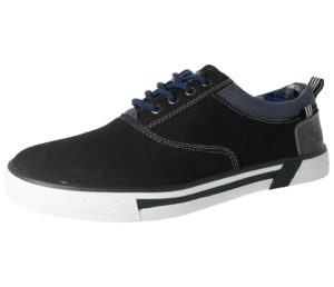 stallion mens faux leather low top lace up trainer