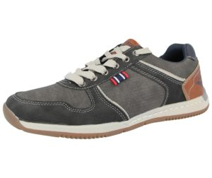 stallion mens lace up faux leather suede trainer black
