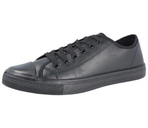 urban jacks mens faux leather lace up low top trainer black