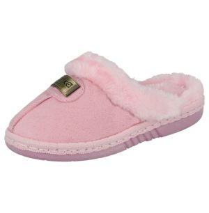 yinka girls faux suede mule slipper pink