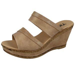 yinka womens faux leather snake print wedge sandal taupe