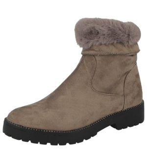 emma suede fur lined ankle boot taupe