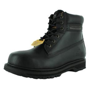 groundwork unisex steel toe leather lace combat boot black