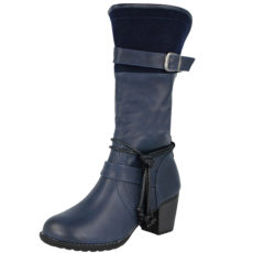 Antonio Dolfi Women's Faux Leather Mid Calf Riding Boots - Navy
