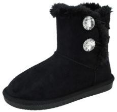 Foster Footwear Girls Faux Suede Diamante Winter Boots - Black