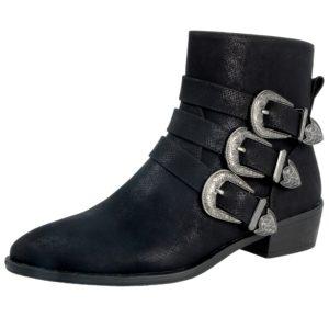 Fabulous Fabs Women's Triple Buckle Chelsea Boots - Black PU