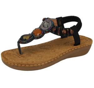 Heavenly Feet Women's Faux Leather T-Bar Sandals - Black
