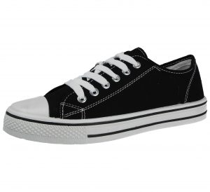 Urban Jacks Women's Low Top Canvas Trainers - Black