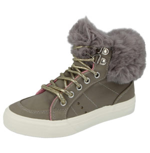 Buckle My Shoe Girls Faux Fur Lace Up Hi Top Trainers