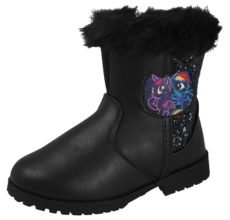My Little Pony Girls Black Glitter Faux Leather Ankle Boots