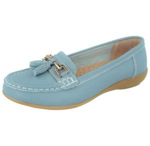 Jo & Joe Women's Soft Leather Pastels Slip On Loafers - Baby Blue