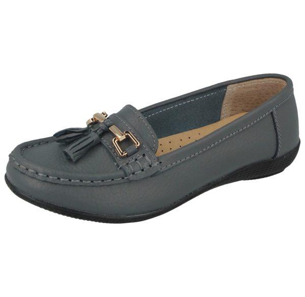 jo joe womens soft leather nudes slip on loafers grey