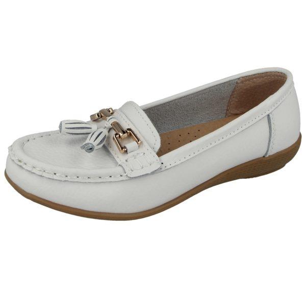jo joe womens soft leather nudes slip on loafers white