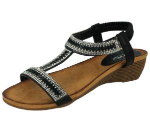Chix Women's Faux Leather Gem Stone T Bar Sandals - Black