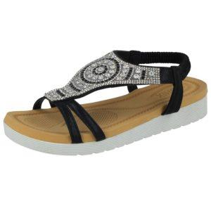 chix womens metallic canvas aztec diamante sandal black