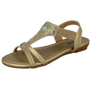 chix womens metallic faux leather aztec diamante gladiator sandal gold