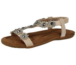 chix womens flower faux leather diamante sandal beige