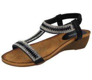 chix womens gem stone wedged sandal black