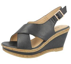 cushion walk womens faux leather cross strap sandal black