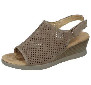 cushion walk womens faux suede laser cut wedge sandals beige