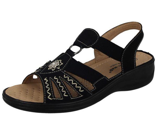 cushion walk womens faux leather open toe gladiator sandal black